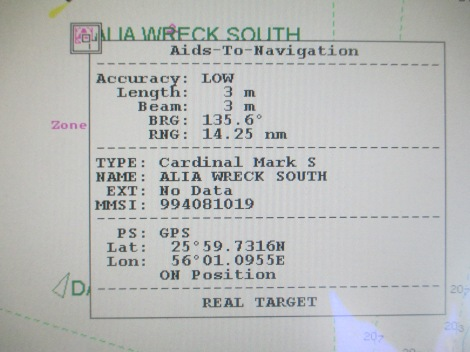 AIS ATON on ECDIS - Alia Wreck South Details