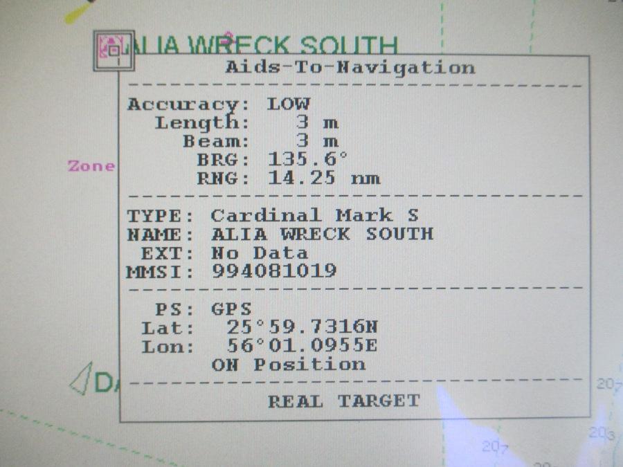AIS ATON on ECDIS - Alia Wreck South Details